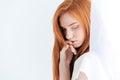 Pretty redhead woman posing on white background Royalty Free Stock Photos