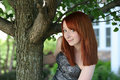 Pretty redhead young teen girl with freckles Royalty Free Stock Photos