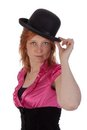 Pretty redhear girl with a bowler Royalty Free Stock Photo