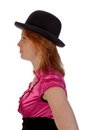 Pretty redhear girl with a bowler Royalty Free Stock Photography