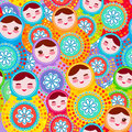 Pretty Russian dolls matryoshka, pink blue green colors colorful bright, seamless pattern. Vector Royalty Free Stock Photo