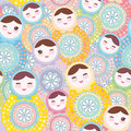 Pretty Russian dolls matryoshka, pink blue green pastel colors colorful, seamless pattern. Vector Royalty Free Stock Photo
