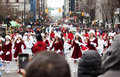 Pretty santas at christmas parade Royalty Free Stock Photography