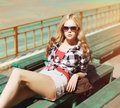 Pretty sexy hipster blonde woman in sunglasses Royalty Free Stock Photo