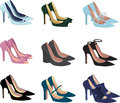 Pretty shoes assorted women high heel isolated on white illustration Stock Photography