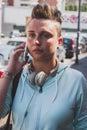 Pretty short hair girl talking on phone