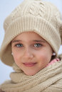 Pretty small girl with wool scarf Royalty Free Stock Photo