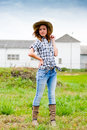 Pretty smiling happy young woman sunny spring autumn day cowboy hat outdoors Stock Photos