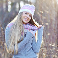 Pretty smiling woman outdoor fashion portrait Royalty Free Stock Photo