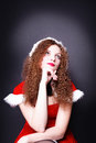 Pretty snow maiden dreams of curly  for Christmas Royalty Free Stock Photo