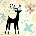 Pretty snowflakes and deer Royalty Free Stock Images