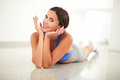 Pretty sporty woman in yoga class looking at you copyspace Stock Photography