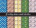 Pretty stars and circles pattern 5 style is blue,brown skin,yellow,Army Green and pink-gray Royalty Free Stock Photo