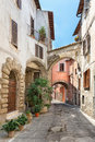 Pretty street in the ancient city of tuscany view a beautiful little old town italy Royalty Free Stock Photography