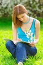 Pretty student studying outdoors Royalty Free Stock Photography