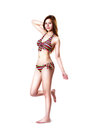 Pretty swimsuit fashion young asian woman posing isolated over white Stock Photo