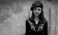 Pretty teen girl in a beret black & white portrait Royalty Free Stock Photo