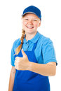 Pretty Teen Worker - Thumbs Up Royalty Free Stock Photo