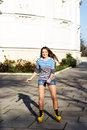 Pretty teenage girl rollerskating in park beautiful Royalty Free Stock Photos