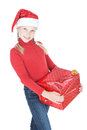 Pretty teenage girl in santa helper hat Stock Images