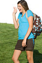 Pretty teenage girl with a school backpack Royalty Free Stock Photography