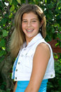 Pretty teenage girl striking a pose