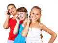 Pretty teenage girls with mobile phone Stock Images
