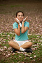 Pretty Thai woman rest exercise in the park . Royalty Free Stock Photo