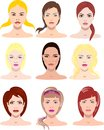 Vector illustrations of beautiful young girls with various faces and hair style Royalty Free Stock Photo