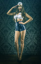Pretty vintage sailor woman tribute Royalty Free Stock Photo