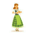 Pretty waitress in a green Bavarian traditional costume holding beer mugs, Oktoberfest beer festival vector Illustration Royalty Free Stock Photo