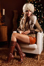 Pretty wealthy woman at christmas portrait of a beautiful Royalty Free Stock Photography