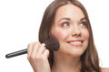 Pretty woman applying makeup Royalty Free Stock Photo