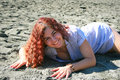 Pretty woman on beach in limassol cyprus Stock Photography