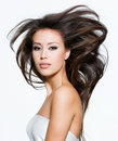 Pretty woman with beautiful long brown hairs Stock Photography
