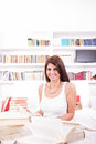 Pretty woman with books Royalty Free Stock Images