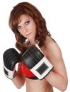 Pretty woman with boxe gloves Royalty Free Stock Image