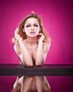 Pretty woman in a bra reflected in mirror Royalty Free Stock Photo