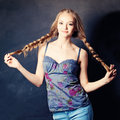 Pretty Woman with Braids Royalty Free Stock Photo
