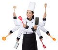 Pretty woman Chef in action Royalty Free Stock Photo