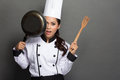 Pretty woman Chef have fun with her cooking tool Royalty Free Stock Photo