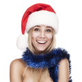 Pretty woman in christmas cap isolated on white Stock Photo