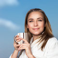 Pretty woman drinking coffee Royalty Free Stock Photo
