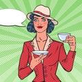 Pretty Woman Drinking Morning Tea in Cafe. Coffee Break. Pop Art illustration Royalty Free Stock Photo