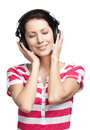 Pretty woman with earphones Royalty Free Stock Images