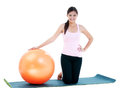 Pretty Woman With Fitness Ball Stock Image