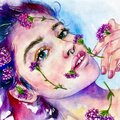 Pretty woman with flowers on face hand drawn watercolor illustration Royalty Free Stock Photo