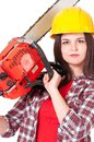 Pretty woman with gasoline powered chainsaw isolated on white background Stock Image