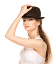 Pretty woman in hat with bird s feather isolated Stock Photography