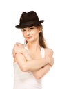 Pretty woman in hat with bird s feather isolated Royalty Free Stock Photo